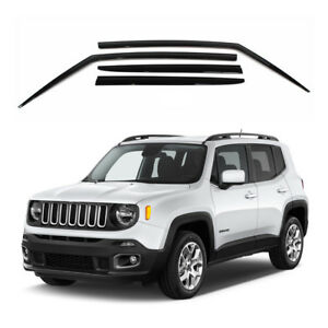 New Smoked Side Window Vent Visors Rain Guards 4pcs Set For Jeep Renegade 15 17