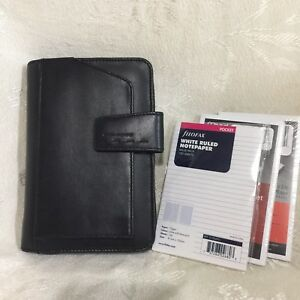 Piquadro Black Leather Zip Organizer Agenda Planner With Accessories Guc