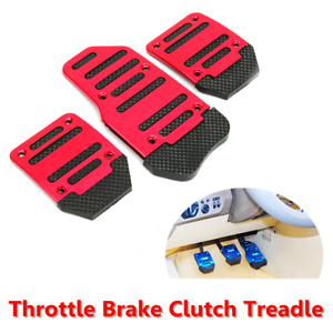 3x Car Manual Accelerator Brake Clutch Pedal Foot Treadle Footrest Cover Red