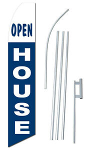 Open House Tall Advertising Banner Flag Complete Sign Kit 2 5 Feet Wide
