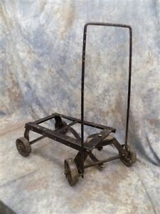 Small Factory Engine Cart Industrial Age Metal Top Wheels Wagon Base Vintage