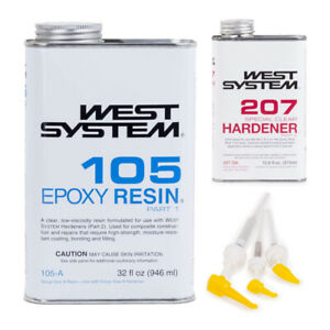 West System 105 Epoxy Resin With 207 Special Clear Epoxy Hardener And Mini Pumps