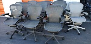 Herman Miller Aeron Chair Size B Black W silver Mesh Adjustable Arms
