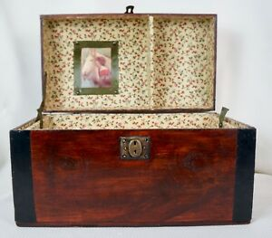 Antique Small Steamer Trunk Dome Top Camelback Restored With Tray
