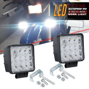 4inch Square Led Work Lights Waterproof Fog Driving Offroad Atv Truck Backup