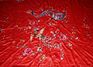 Chinese Silk Embroidered Tapestry Wall Hanging Textile Dragon Phoenix Signed