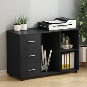 Wood Organizer File Cabinets Printer Stand Office 3 Drawer Open Storage Shelves