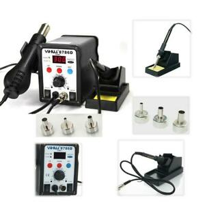 2in1 Soldering Iron Rework Station Hot Air Gun Desoldering Welder 3 Nozzle 8786d