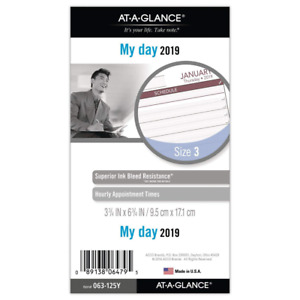 At a glance 2019 Daily Planner Refill Day Runner 3 3 4 X 6 3 4 Portable Siz