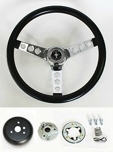65 69 Ford Mustang Steering Wheel Black And Chrome 14 1 2 Mustang Center Cap