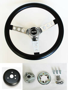 1964 1966 Nova Impala Black Chrome Steering Wheel Kit 14 1 2 Ss Center Cap
