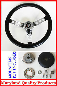 1964 1966 Buick Skylark Gran Sport Black And Chrome Steering Wheel 14 1 2