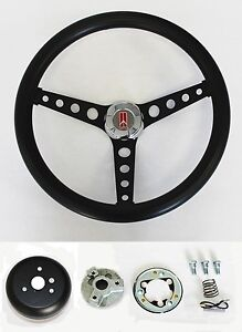 1964 1966 Oldsmobile F85 442 Cutlass 98 Black On Black Steering Wheel 14 1 2
