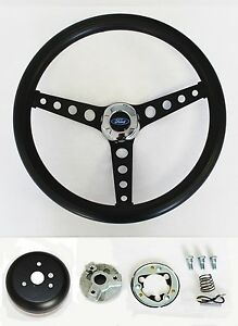 1965 1969 Ford Mustang Steering Wheel Black On Black 14 1 2 Ford Center Cap