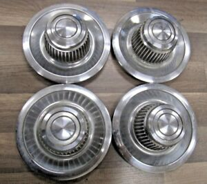 Chrome Chevy Gm Rally Wheel Center Derby Caps set Of 4 Very Nice