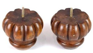 Vtg Pair Wood Finials Curtain Rod Stair Post Chunky Walnut Bed Post Furniture