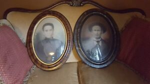 Lot Of 2 Antique Oval Tiger Frame Convex Bubble Glass 100 Years Man And Woman