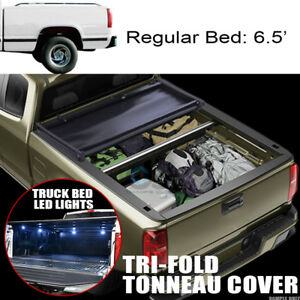 Tri fold Soft Tonneau Cover 16x Led Lights 88 00 C10 C k Silverado 6 5 Short Bed
