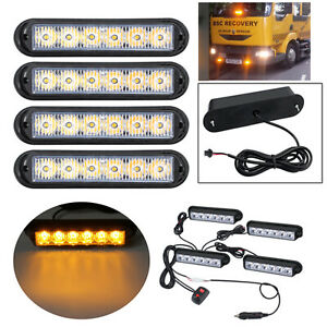 4pcs 6led Amber Flashing Light Bar Car Truck Hazard Recovery Strobe Lamp Kit 12w