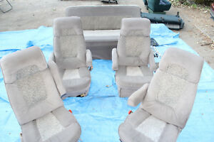 98 03 Dodge Ram Conversion Van Seats Reclining Brown Captain Chairs Bed Nice