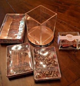 Rose Gold Desk Accessories Binder Clips Push Pins Pen Holder Paperclips New