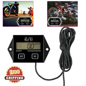 Digital Engine Rpm Tach Tachometer Hour Meter Gauge 2 4 Strok For Motorcycle Atv