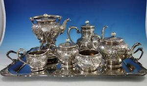Scroll By Durgin Sterling Silver Coffee Tea Set 7pc With Kettle On Stand 2971