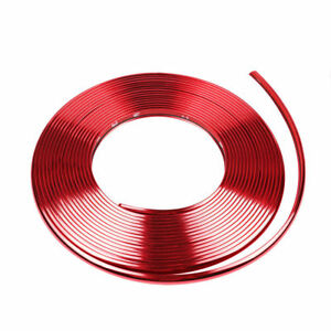 8m Glossy Red Car Wheel Hub Rim Trim Tire Guard Rubber Strip Protector Decor