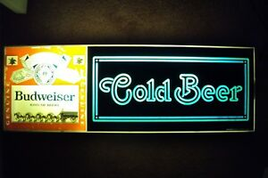 Vintage 1979 80s Budweiser Electric cold Beer Sign 031 4 Clydesdale Horse