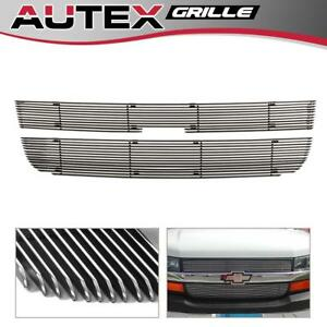 For 03 16 Chevy Express Explorer Conversion Van Chrome Billet Grille Grill Combo