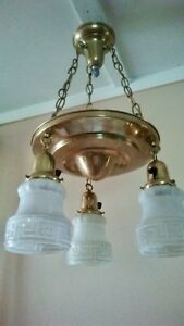 Vintage Antique 3 Shade Hanging Brass Pan Chandelier With Chains Victorian 1920s