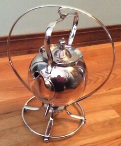Vintage Silver Plate Tea Pot On Warming Stand With Burner