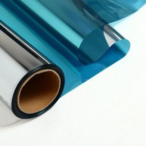 One Way Mirror Window Film Blue Silver Reflective Mirrored Privacy Sticky Glass