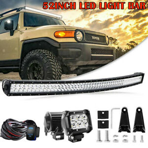 For 2007 2018 Toyota Tundra Roof 52 Curved Led Light Bar Combo W wiring Kit 4