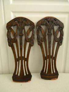 Fabulous Pr 1800 S Antique English Carved Wood Salvaged Fragments Swags Tassels