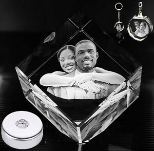 3d Laser Engraved Crystal Photo Personalized Custom Gift Stand Key chain