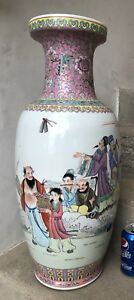 Huge Chinese Famille Rose Immortals Vase Poem Tall Qing Old Ca Estate Marked