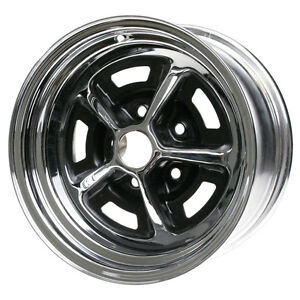 Wheel Vintiques 54 561204 Mustang Magnum 500 Wheel 15 X6 Chrome Black Inserts 1