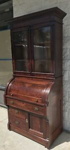 1800 S Antique Eastlake Cylinder Roll Top Desk W Glass Front Cabinet Walnut
