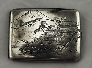 Japanese 950 Sterling Silver Hand Chased Cigarette Case 3 3oz Troy