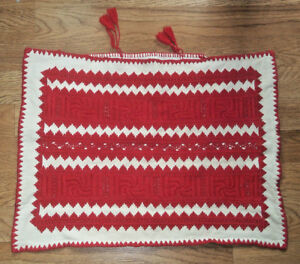Vintage Red Work Amazing Antique Needlework Textile Pillow Cover Sham Handmade