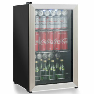 76 Can Beverage Refrigerator Cooler W Glass Door Stainless Steel Soda Beer Wine