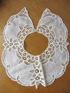 Open Lace Bamberg Linen Collar Off White Guc