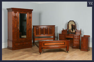 Antique Victorian Gothic Pitch Pine Ebony Bedroom Suite Bed Wardrobe Bedside