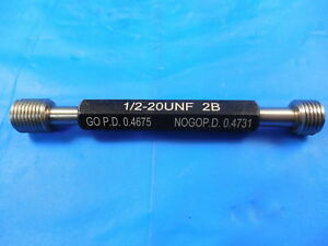 New 1 2 20 Unf 2b Thread Plug Gage 5 Go No Go P d s 4675 4731 Tooling