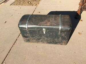 Vintage Automobile Trunk Metal Wood Bottom