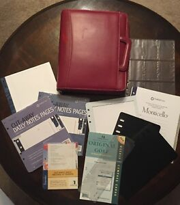 Monarch 1 75 Rings Burgundy Sim Leather Franklin Covey Planner binder W extras