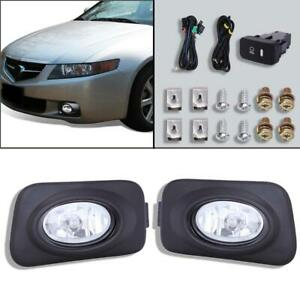 For 2004 2005 Acura Tsx Jdm Clear Bumper Driving Fog Lights Bulbs Switch