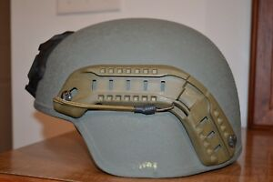 Gentex TBH-II MV ballistic helmet w. Ops Core ARC rails and Bungees and Wilcox
