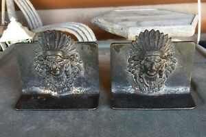 Bookends Indian Chief Heavy Metal Or Bronze Antique 4 25 X 3 25 Inches
